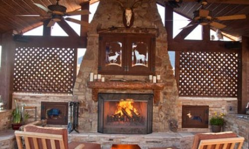 Custom outdoor patio, Fireplace and Living area